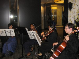 Reception 2016-3-Members of South Lakes High School's string chamber group play at Public Art Reston's annual reception at the Avant. They include Ben Bond, Huay Din, Phoebe Liu, Alleyah Wallace.